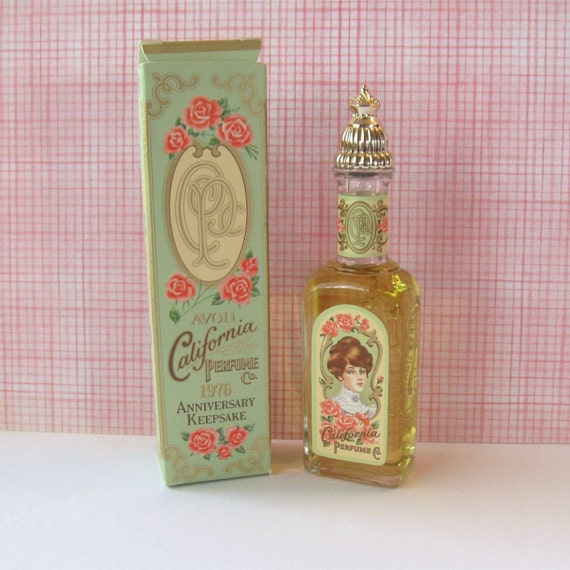 Avon Anniversary Keepsake Bottle with Box, Early Replica with Roses, Mint Green, Antique Design - California Perfume Co. - Moonwind Cologne