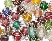 48 pcs 8mm Glass Beads wrapped with silver plated wire