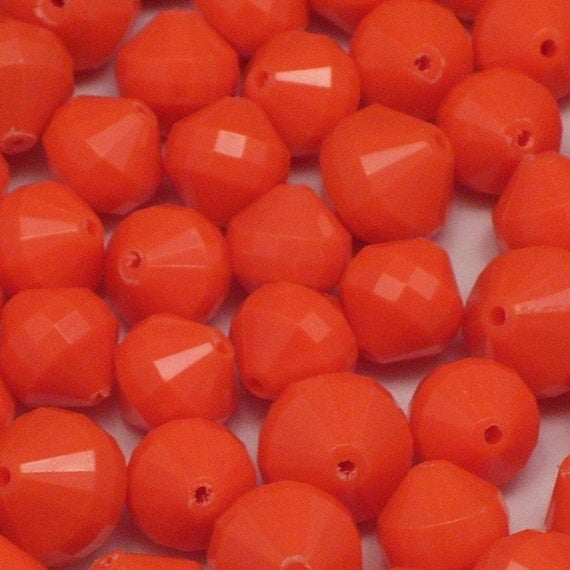 100 Orange Vintage Lucite Bicone Beads -- 12mm and 14mm