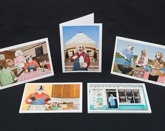 Food for Thought, 5 blank notecards and 5 envelopes with Boxer dogs wearing clothes with food theme