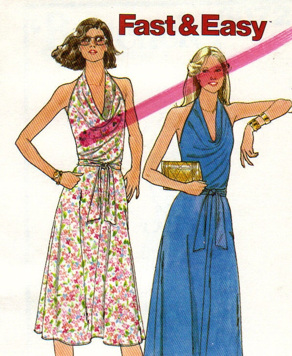 Draped Gown Pattern: 70s Draped Halter Dress Pattern Butterick 6072 By TreasureIsle