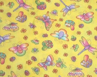 Hoffman 440 Yellow Flutterflies Cotton Flannel Fabric