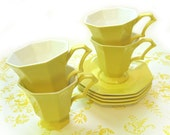RESERVED for NikrisDesigns Yellow Tea Set - Cups, Saucers, Creamer, Sugar