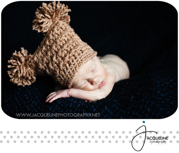 Crochet Pattern PDF - Square Star Stitch Hat with Pompoms, Sizes Preemie to Adult