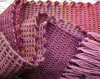 Handwoven Pink, Fuchsia, and Orange Scarf