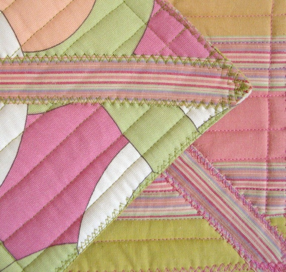 Bright Pink, Peach, Lime Geometric Hot Pad