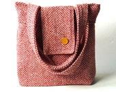 AMY Big HERRINGBONE Wool Peche // French Shoulder Bag
