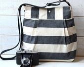 Water Proof - Diaper bag - Messenger bag-Tote STOCKHOLM  Black and Ecru Stripes - 10 Pockets