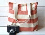 WATERPROOF Diaper bag /  Messenger bag / Tote bag/ Travel Bag / Handbag STOCKHOLM Coral and Ecru / Made to order