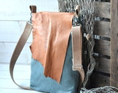 LAST ONE - Recycled Arva dark egg blue linen eco messenger with leather flap