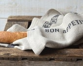 NATURAL BON APPETIT Black French country 2 Linen Towel / shabby chic kitchen/ eco friendly gift - ikabags