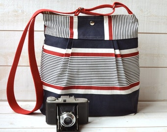 Stockholm Diaper bag BLUE Denim navy ,Red  and Ecru  Pleated French Messenger - COTON Water Resistant - 10 Pockets