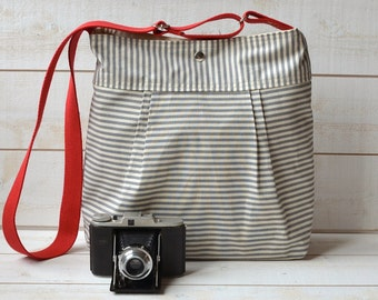 Water proof STOCKHOLM Diaper bag Gray and Ecru Ticking striped Pleated French Messenger - 10 Pockets