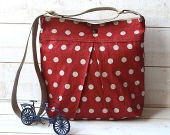 Medium Diaper bag / Shoulder Bag / Cross body bag -Eco Polka dots deep Red Ecru Linen