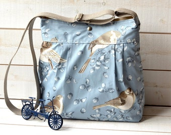 WATER PROOF Diaper bag  with birds and leaves - 10 Pockets Blue Pattern