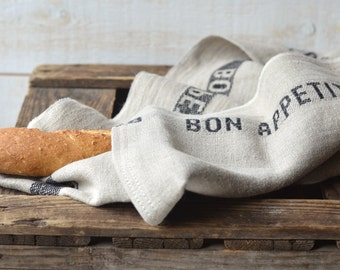 Linen Tea towels, French country, NATURAL BON APPETIT Black, shabby chic kitchen, eco friendly gift Natural / sustainable