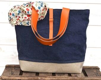 Eco friendly ORGANIC LINEN Tote bag Dark Indigo Large  French tote bag  with Orange Leather strap / Market tote Bag