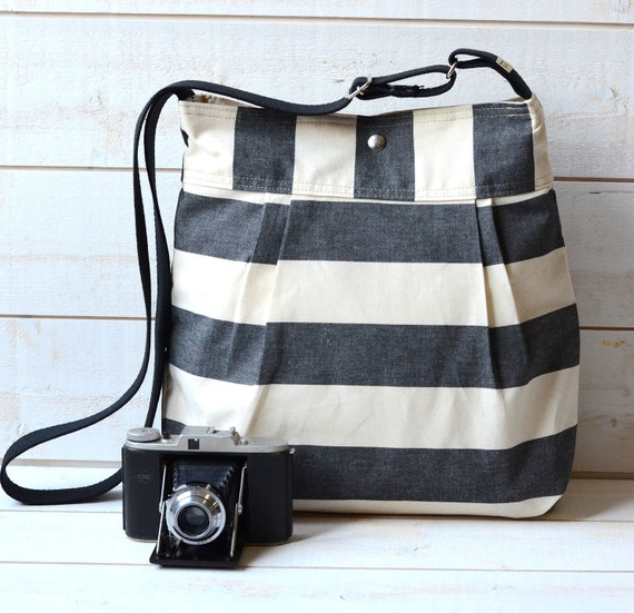 Water Proof - Diaper bag - Messenger bag-Tote STOCKHOLM  Black and Ecru Stripes II - 12 Pockets  / Made to order