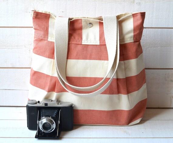 WATERPROOF Diaper bag /  Messenger bag / Tote bag/ Travel Bag / Handbag STOCKHOLM Coral and Ecru / Made to order