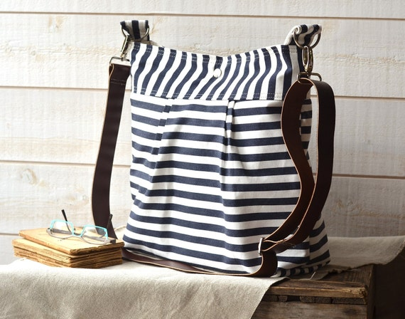 Waterproof BEST SELLER Diaper bag/Messenger bag STOCKHOLM Navy blue and white nautical stripe - 12 Pockets -Baby talk magazine featured