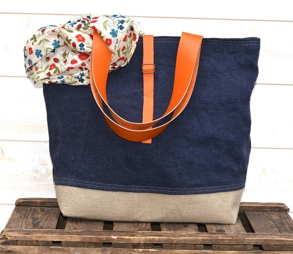 Reserved for Robin  // Eco friendly  French tote bag  with Orange Leather strap / Market tote with LINEN-Eco nautical COTTAGE CHIC