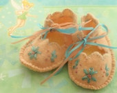 Felted Wool Baby Booties - Pink with Blue Flowers