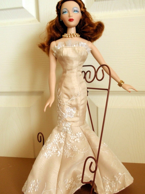 Gene Marshall Tonner Doll Beige Silk With Lace Overlay Gown
