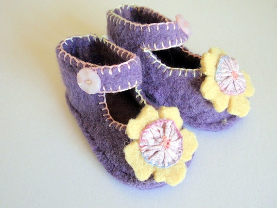 Felted Wool Baby Booties Soft Purple with Yellow and Pink Yoyo Flower