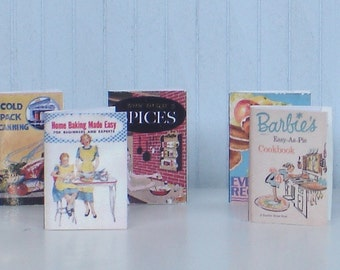 Retro style Cookbooks for your dollhouse