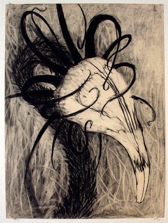 Skull Weed - original charcoal drawing by Velveeta Heartbreak
