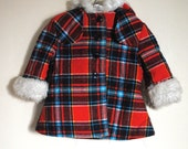 1970s Toddler Plaid Coat with Faux Fur Trim and Hood/Size 3T
