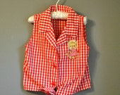 Vintage Girls Gingham Kitten Bouse with Tie Waist/ Sleeveless Red and White Button Down/ Size 5 to 6X