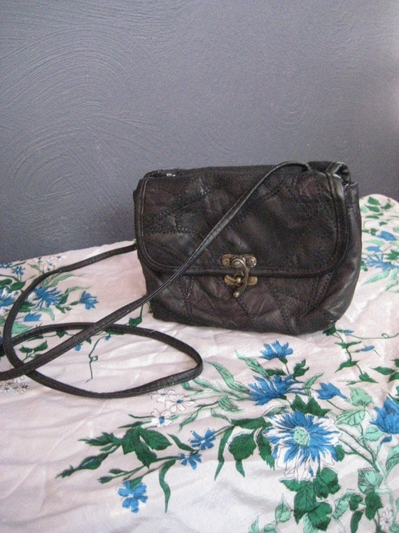 SALE Vintage Black Leather Mosaic Cross Body Bag