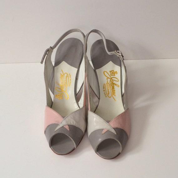 Vintage Gray and Pink Peep Toe Heels / Slingbacks / size 7