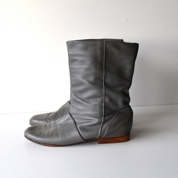 Vintage Gray Slouch Ankle Boots / Short Pirate Booties by