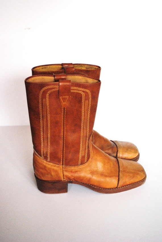 Vintage Leather Campus Boots/ Mid Calf Boots with Round Toe/ Size 8 Women