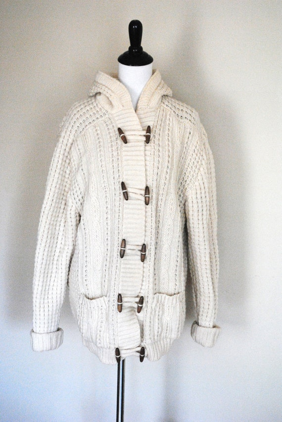 Vintage Fisherman Sweater with Toggle Buttons and Hood/ Thick Ivory Knit/ Size Large to Extra Large