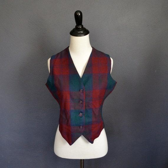 1970's Plaid Vest / Cropped / Wool Blend / size medium