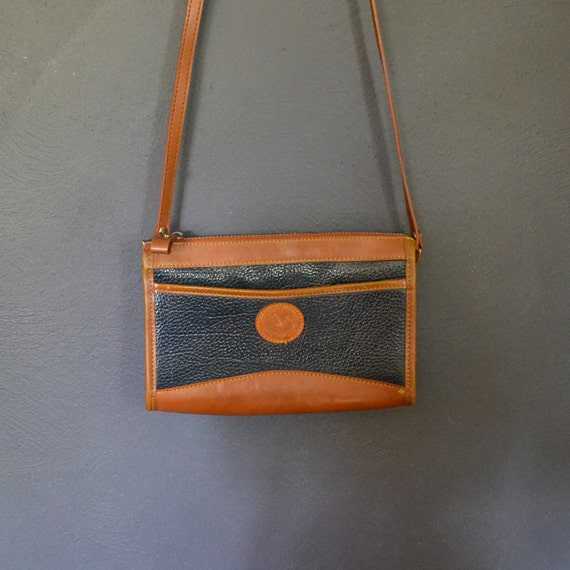 Vintage Navy Pebbled Leather Structured Crossbody Bag