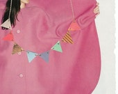 Multicolored Flag/Triangle Necklace- Pastel