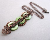Green Dragon Pendant with Mother of Pearl  in Copper- free shipping
