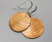 Etched Copper Leaf Circle Earrings