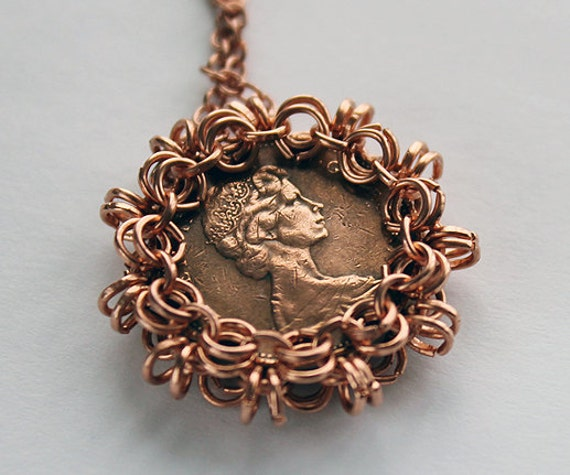 Canadian Cent Coin Chain Maille Pendant 1969
