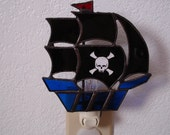 Pirate Ship Night Light with skull and cross bones sticker