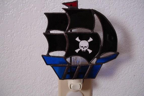 Pirate Ship Night Light with skull and cross bones sticker