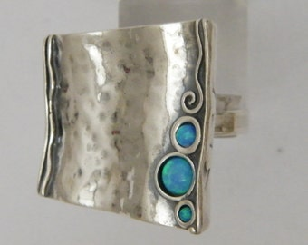 Sterling silver ring, hippie ring, blue opal stones , native America  rings collection, Hanukkah gifts, Christmas gift