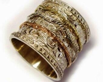 Spinner Ring Romantic Floral rings silver gold spinner rings Israeli Meditation rings