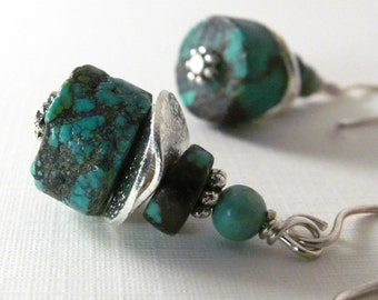 Chunky Heishi Turquoise Earrings Handmade Earrings