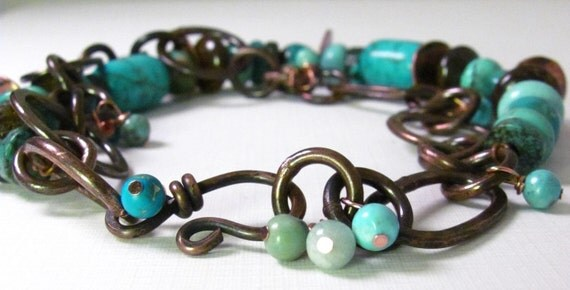Turquoise and Copper Bracelet Handmade Jewelry