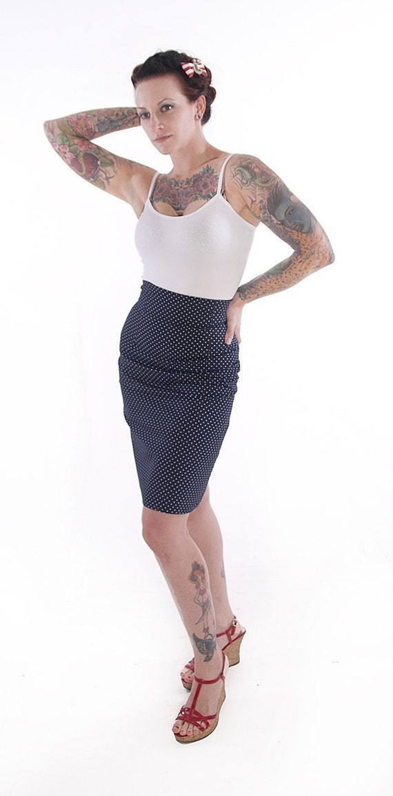 Stretch Pencil Skirt in navy blue with white polka dots MEDIUM